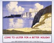 Fair Head, Co Antrim, Northern Ireland. Vintage Ulster Tourist Travel poster by Paul Henry. 1932
